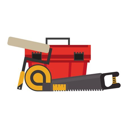 Construction tools saw measurement tape and toolbox vector illustration graphic design