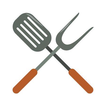 la nourriture et la cuisine du restaurant ont croisé la spatule de cuisine et l'icône de la grande fourchette dessins animés illustration vectorielle conception graphique Vecteurs