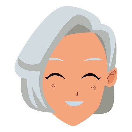 old woman smiling and happy portrait isolated vector illustration graphic design 向量圖像