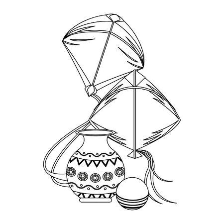 Indian patriotic emblems decorative porcelain jar and kites cartoons isolated vector illustration graphic design
