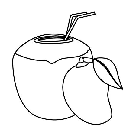 delicious mix of fruit with mango and coconut beverage icon cartoon in black and white vector illustration graphic design