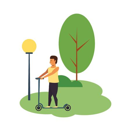 Young man riding on scooter at park scenery isolated vector illustration graphic design