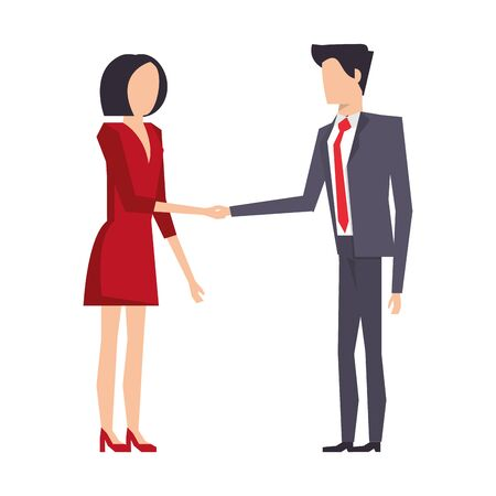 executive business finance coworkers making deal cartoon vector illustration graphic design