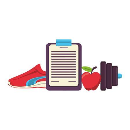 Fitnessgeräte Workout Gesundheit und Logbuch Apfel mit Tennis und Skalensymbolen Vektor Illustration Grafikdesign