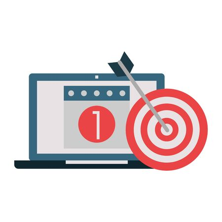 Office and business technology symbols laptop with calendar and dartboard target vector illustration graphic design 矢量图像