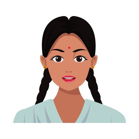 indian young girl face with bindi and braid profile picture avatar cartoon character portrait vector illustration graphic design 矢量图像