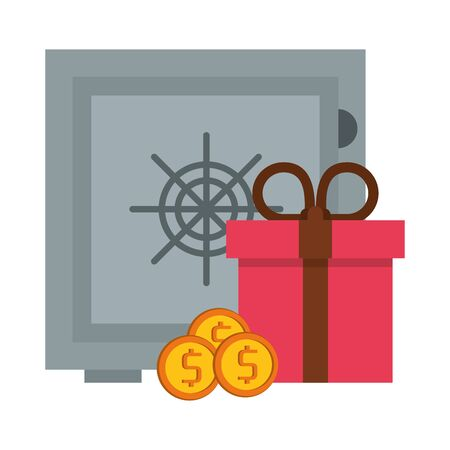 Strongbox with coins and giftbox symbols vector illustration graphic design Illustration