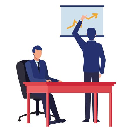 business business people businessman back view pointing a data chart and businessman sitting on a desk avatar cartoon character vector illustration graphic design