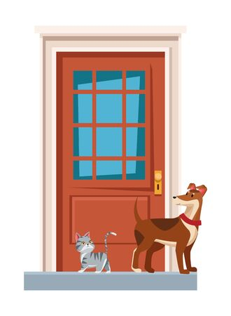 domestic animals and pet dog and cat in front of a house door vector illustration graphic design