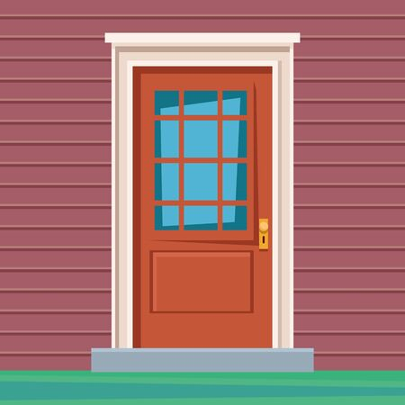 front door house entrace colorful wall and grass vector illustration graphic design Vetores