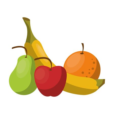delicious tropical fruit with banana, pear, apple and orange icon cartoon vector illustration graphic design Çizim