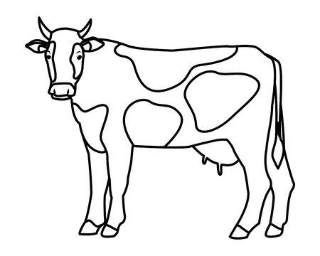 ferme, animaux et agriculteur vache icône cartoon en noir et blanc vector illustration graphic design Vecteurs