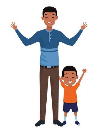 Family single father and little afro son smiling cartoon vector illustration graphic design Vektorgrafik