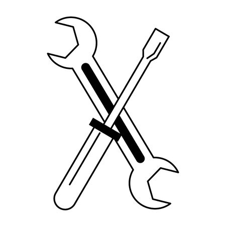 carpentry and constrution tools equipment wrench with screwdriver cartoon vector illustration graphic design  イラスト・ベクター素材