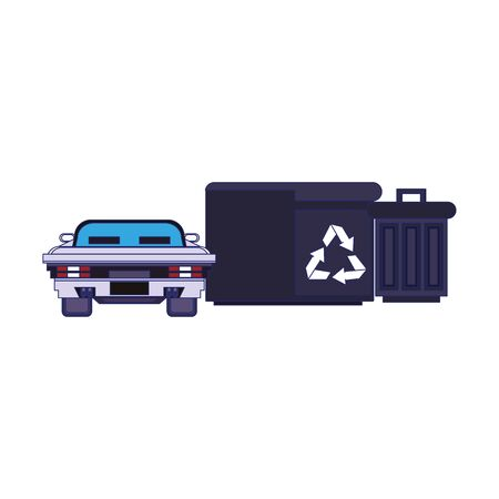Videogame pixelated scenery car and trash cans vector illustration graphic design 向量圖像