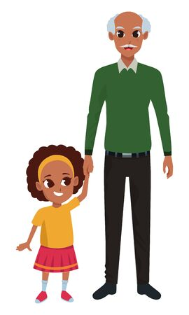 Family afroamerican grandfather with little granddaugther cartoon vector illustration graphic design Illustration