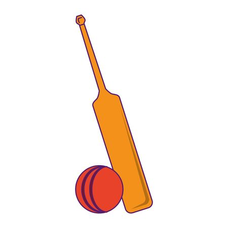 cricket equiment elements bat cricket and ball icon cartoon vector illustration graphic design