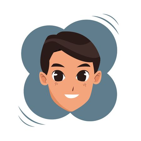 Young man face smiling cartoon on round colorful splash frame vector illustration graphic design. Vectores