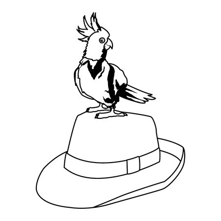 summer beach and vacation with cockatoo over a panama hat icon cartoon in black and white vector illustration graphic design Illustration