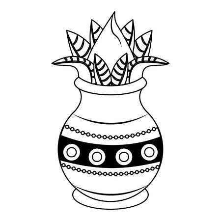 Festival d'Ugadi offrant des dessins animés de pot de fleurs vector illustration graphic design