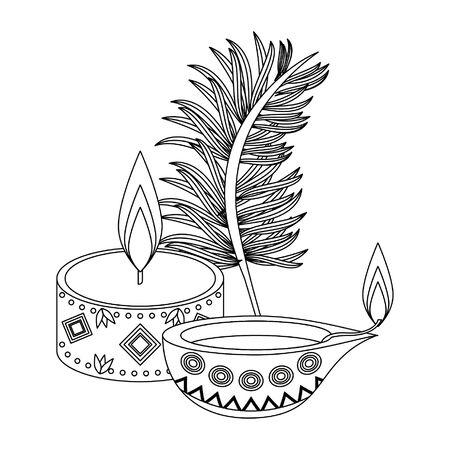 Ugadi indian celebration emblems candles and leaf cartoons vector illustration graphic design 일러스트