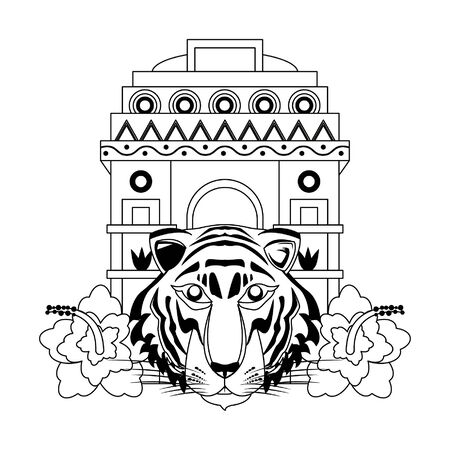 indian building monuments with gateway of india, bengal tiger and lotus flower icon cartoon vector illustration graphic design Ilustração