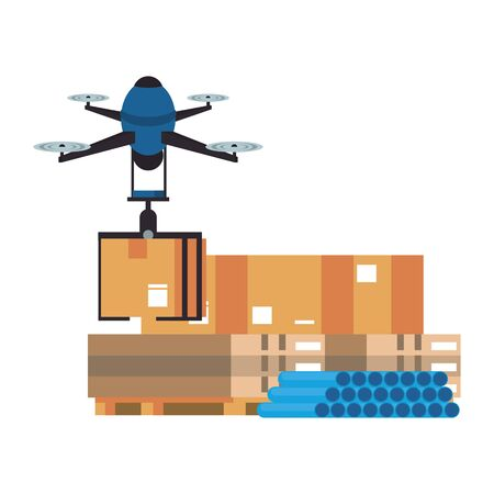 air drone remote control technology device delivery and logistic process with cardboard boxes in merchandise storage cartoon vector illustration graphic design Illustration