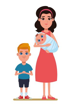 family avatar mother with bandana holding a baby next to a child profile picture cartoon character portrait vector illustration graphic design