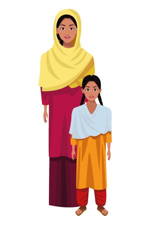 indian family woman with young girl avatar cartoon character portrait vector illustration graphic design