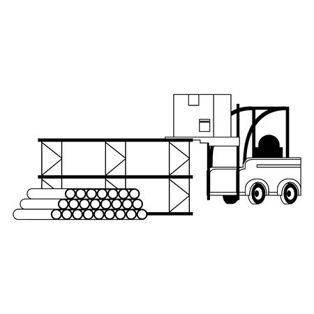 Forklift loading box and shelf with pvc pipes vector illustration Foto de archivo - 127345164