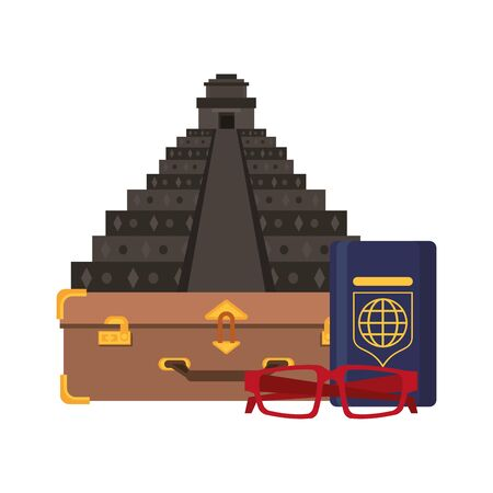 Travel vacations and summer pyramid passport and glasses cartoons Ilustração