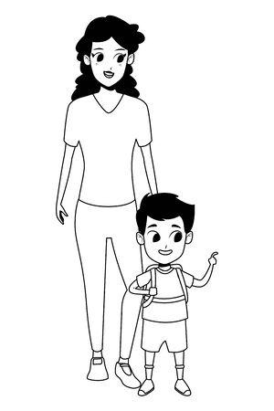 Alleinerziehende Mutter der Familie mit Sohn, der Schulrucksackvektorillustrationsgrafikdesign hält Vektorgrafik