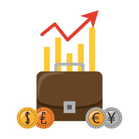 Business briefcase with euro dollar and yen coins vector illustration Illustration