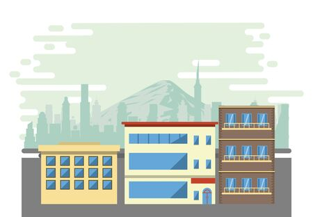 Urban office buildings with cityscape scenery vector illustration graphic design