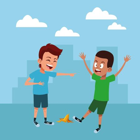 kids playing fun  vector iilustration design cartoon