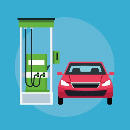 car in a gas station cin round icon icon cartoon vector illustration graphic design Illustration