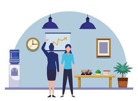 business people businesswoman back view pointing a data chart avatar cartoon character indoor with hanging lamps, water dispenser, plant pot and little table vector illustration graphic design 向量圖像