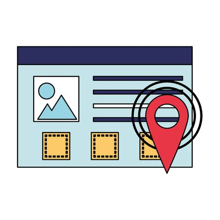 gps location digital pointer website window cartoon vector illustration graphic design
