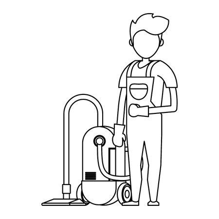 Hombre trabajador más limpio sonriendo con productos de limpieza y diseño gráfico del ejemplo del vector del equipo.