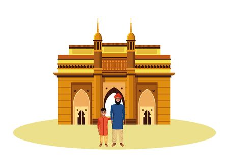 indian family man with beard and turban with young boy and indian monument charminar behind profile picture avatar cartoon character portrait vector illustration graphic design