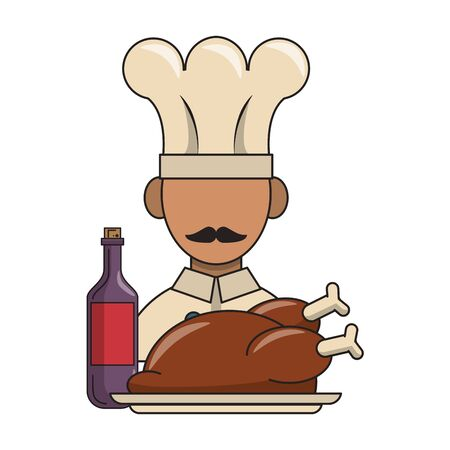 restaurant food and cuisine chef avatar with roaster chicken and bottle with wine icon cartoons vector illustration graphic design  イラスト・ベクター素材