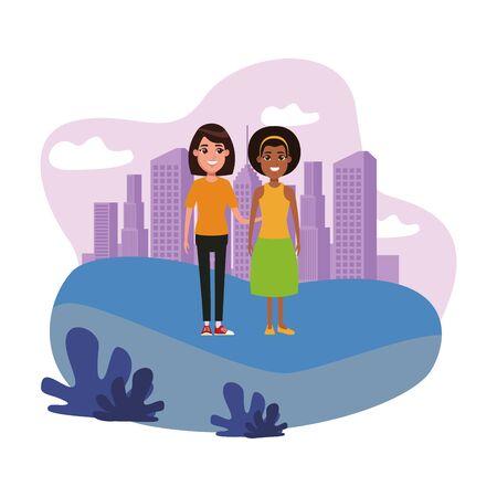 avatar mujer avatar mujer afroamericana con bandana y mujer con pelo corto imagen de perfil retrato de personaje de dibujos animados Ilustración de vector