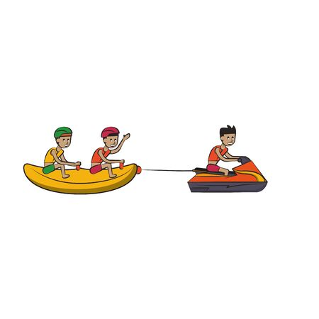 two men in banana float fun entertainment isolated cartoon vector illustration graphic design Vectores