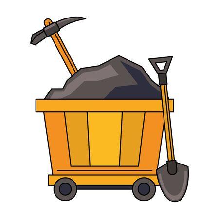 Mining carrier with pick and shovel equipment vector illustration graphic design Ilustração