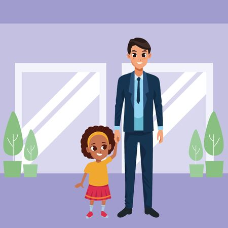 Family single father and little daugther smiling cartoon inside mall witn windows and plan pots scenery vector illustration graphic design.