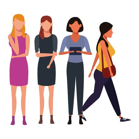 casual people women with technology device cartoon vector illustration graphic design