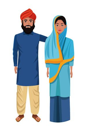 indian couple wearing traditional hindu clothes man with beard and turban woman with sari and hiyab profile picture avatar cartoon character portrait vector illustration graphic design