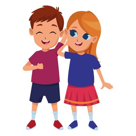 Kids friends boy and girl playing and smiling cartoons vector illustration graphic design