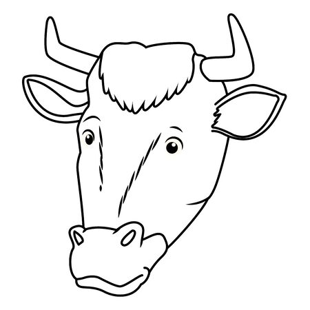 Cow animal head cartoon isolated vector illustration graphic design 向量圖像