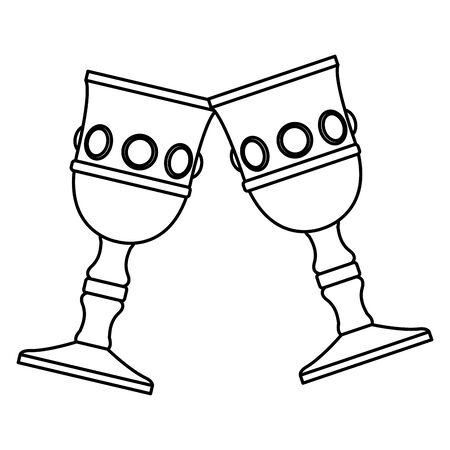 Luxury chalice with diamonds cartoon vector illustration graphic design